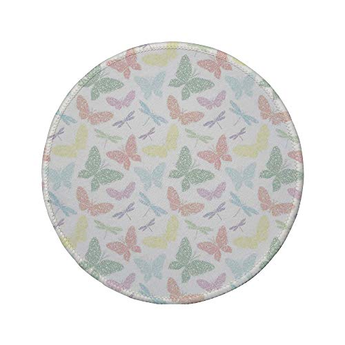 Non-Slip Rubber Round Mouse Pad,Dragonfly,Colorful Different Sized Speckled Butterfly and Dragonfly Figures Wings Image,Multicolor,11.8