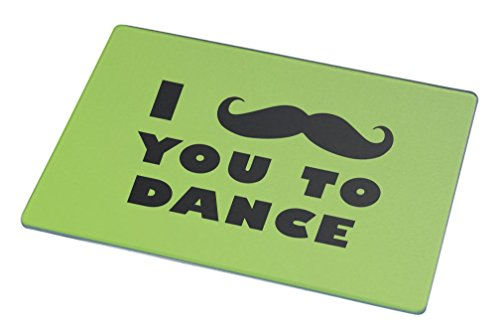 Rikki Knight I Mustache You To Dance Lime Green Color Large Glass Cutting Board by Rikki Knight