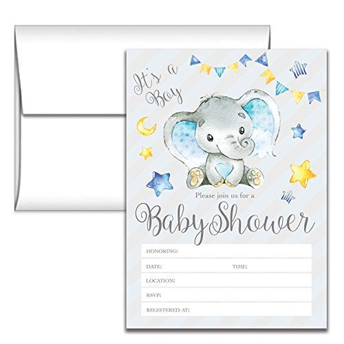 Elephant Themed Baby Shower Invitations (Set of 24 Elephant Baby Shower Invitations - Boy Party)