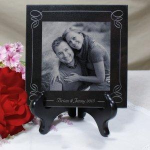 (Engraved Wedding Photo Marble Keepsake)