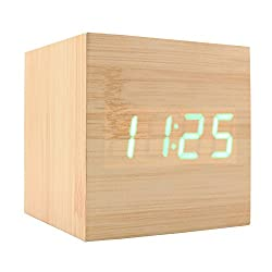 JLYSHOP Wooden Alarm Clock, USB Digital Retro Alarm Clock Cube Wood Led Desktop Table Home Decor Mini Travel Clock Voice Sound Control (GREEN)