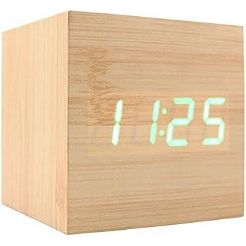 Wooden Alarm Clock, USB Digital Retro Alarm Clock Cube Wood Led Desktop Table Home Decor Mini Travel Clock Voice Sound Control JLYSHOP (GREEN)