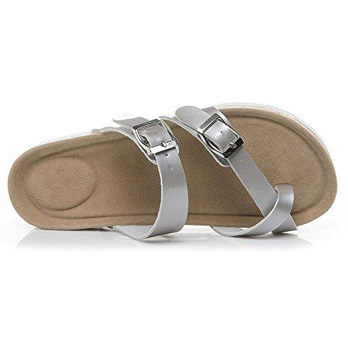 CYBERRY.M Sandales Femmes Plates Sandale Femme Suede Chaussures De Plage Clip Toe Chaussures Pantoufles en LièGe à Semelles éPaisses Argent 02SL7uos