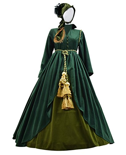 Very Last Shop Classic Movie Gone Wind Scarlett Costume Women Green Fancy Dress Costume (US Women-L, Green) -