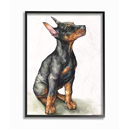 Stupell Industries Doberman Puppy Dog Pet Animal Watercolor Painting  Prints, 11 x 14, Multi-Color