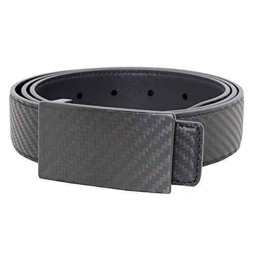 boshiho Mens Business Carbon Fiber Genuine Leather Belt with Carbon Fiber Buckle