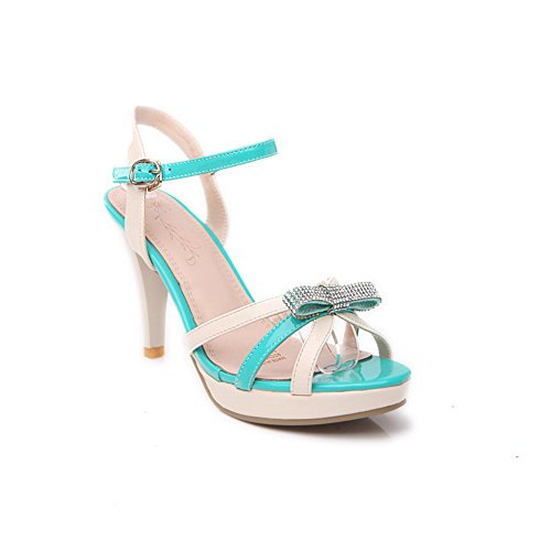 Amoonyfashion Donna Open Toe Tacco Alto Stilettopu Morbido Materiale Assortiti Sandali Colori Con Bowknot Verde