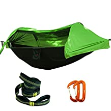 Camping Hammock - UMSKY Lightweight Portable Camping Hammock with Mosquito Tent and Rain Cover for Hiking,Travel,Backpacking,Camping (Green)
