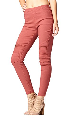 Premium Stretch Denim Jeggings - 5 Pockets - Control Fit High Waist (Small, Moto (Pink Pocket Jeans)