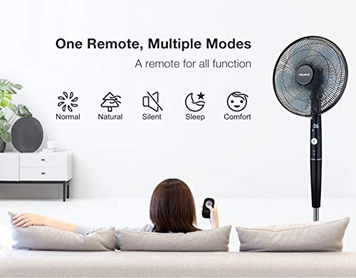 Pelonis Fan, Quiet DC Motor Oscillating Standing Pedestal Fan with Powerful 26 Speed, 5 Silent Modes, 12h On/Off Timer, Adjustable Height and Tilt, Remote Control, 16-Inch, Black