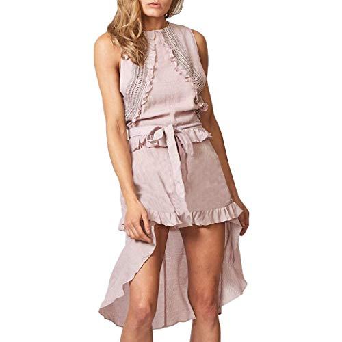 Randolly Women's DressesLadies Bohemia Lace Ruffles O Neck Sleeveless Evening Party Dress With Belt