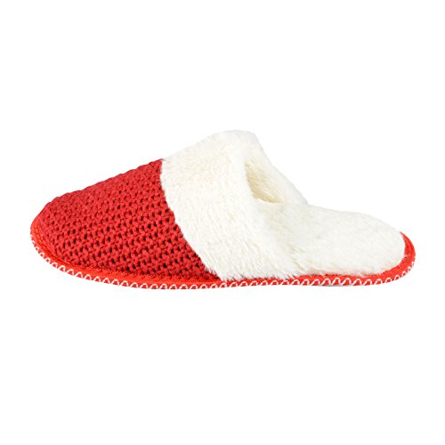 Autumn Faith Womens Valentina Knitted Mule Slippers Cosy Faux Fur Lining & Non Slip Sole Red 4AYdA