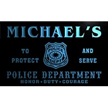 tk004-b Michael's Police DEPT Department Badge Policemen Bar Beer Neon Light Sign