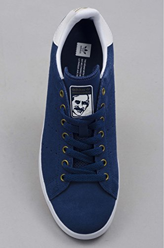 Adidas, Unisex adulto, Stan Smith Vulc Mystery Blue White Matte Gold, Suede, Sneakers, Blu, 44 EU