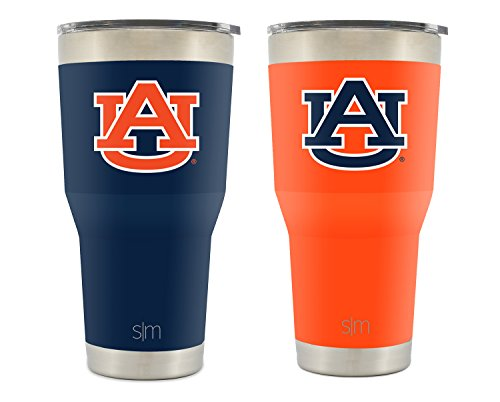 Simple Modern Auburn University 30oz Cruiser Tumbler 2-Pack - Vacuum Insulated Stainless Steel Travel Mug - UA Tigers War Eagle Tailgating Hydro Cup College (Auburn Metal)