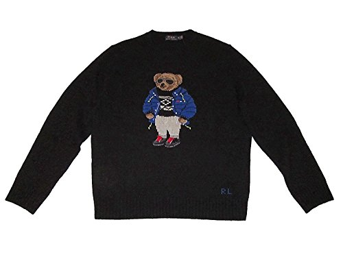 ns Ski Bear Wool Camel Blend Crewneck Sweater Black (XS) EXTRA SMALL ()