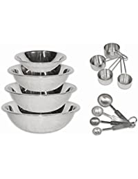 Acquisition 2dayShip Stainless Steel Mixing Bowls 1.5, 3, 4, and 5 Quart and Measuring Cup and Spoon Sets, Set of 6 wholesale