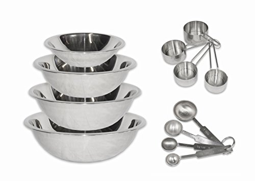 2dayShip Stainless Steel Mixing Bowls 1.5, 3, 4, and 5 Quart and Measuring Cup and Spoon Sets, Set of 6