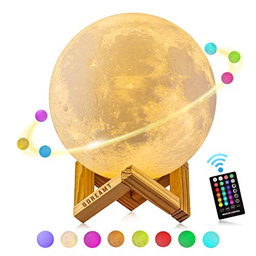 Moon Lamp 5.9 inch GDREAMT 16 Colors 3D Moon Light with Remote&Touch Control/Timer Function/Dimmable/Universal USB Rechargeable Night lamp Christmas Gift (15cm)