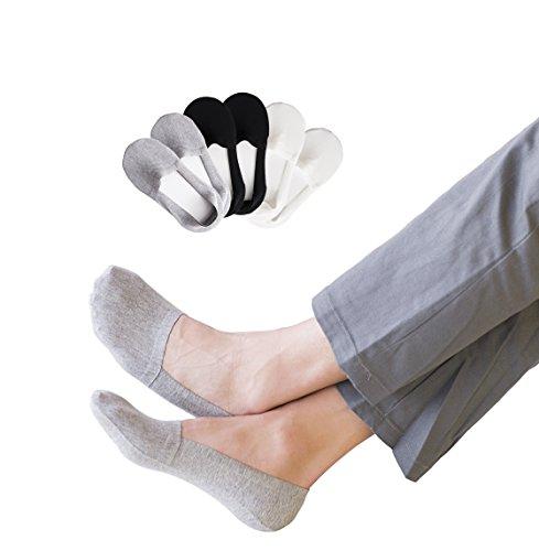 Mens No Show Socks Non-Slip Casual Low Cut Premium Cotton 6 Pack