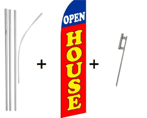 Open House (Red) Super Flag & Pole Kit