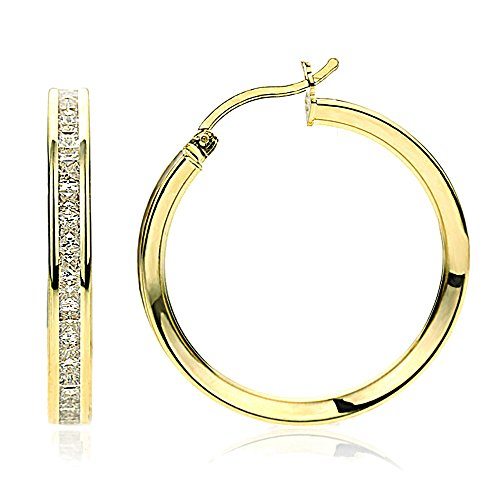 14K Gold 2mm Intriguing Princess CZ Stone Channel Set Eternity Round Hoop Earrings, Size 12mm~40mm, 17