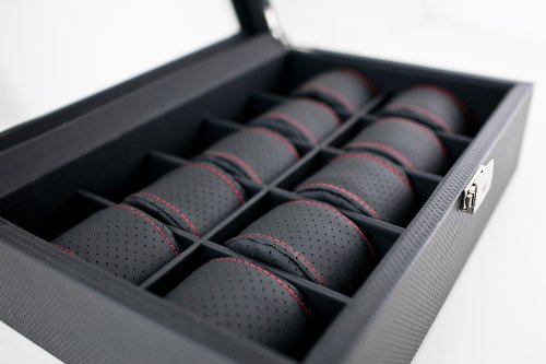 Caddy Bay Collection Black Carbon Fiber Pattern Watch Box Display Storage Case with Glass Top, Red Stitching Perforated Soft Pillows Holds 10 Watches - Red Stitching by Caddy Bay Collection (Image #3)