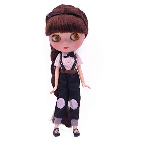 1/6 BJD Doll is Similar to Neo Blythe, 4-Color Changing Eyes Matte Face and Ball Jointed Body, 12 inch Customized Dolls Can Changed Makeup and Dress DIY, Nude Doll Sold Exclude Clothes (Red Browm)