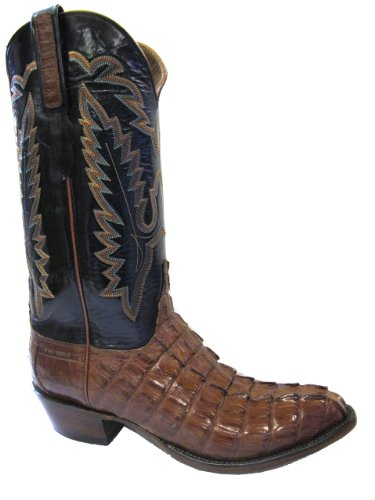 Mens Lucchese L1326 Classics Cognac Caiman Croc Tail Custom Hand-Made Boots Size 9EE