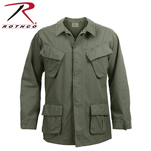 Rothco Men's Vintage Vietnam Fatigue Shirt Rip-Stop (Olive Drab, Large)