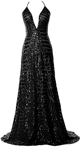 MACloth Women Deep V Neck Sequin Long Prom Dress Sexy Formal Party Evening Gown (16, Black) (80s Outfits For Sale)