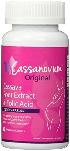 Cassava Root Supplement & Folic Acid, Fertility Supplement for Twins and Healthy Pregnancy (Cassava Root Extract) 800mg capsules. Suitable for vegetarians,60 capsules