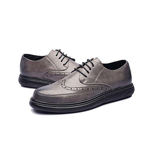 Scarpe shoes Color Xiaojuan Dimensione Grigio Outsole Uomo EU Scarpe Pelle mocassini Design con in Marrone intagliati PU 42 da lacci pelle Classiche uomo Oxfords ZUCwdUqx