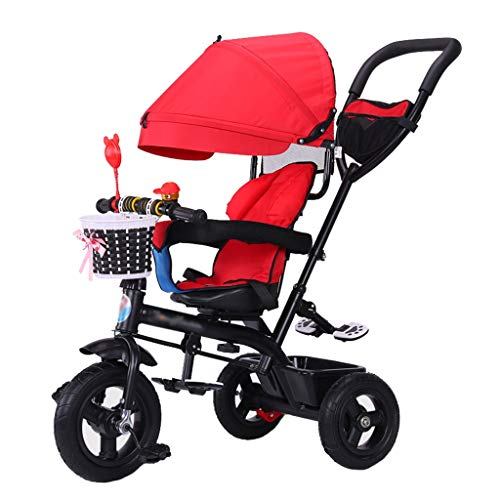 (Unique Children's Stroller Trike Bike Push and Ride Baby Trolley with Brakes and Demountable Awning Folding Kids' Tricycle for 6 Months - 6 Years Old Red)