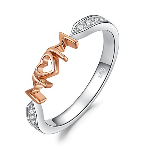 (JewelryPalace MOM Cubic Zirconia Ring 925 Sterling Silver Rose Gold Size 8)