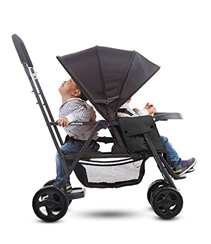 (Best Tandem Baby Strollers, Adapter Included, Umbrella, Travel Systems Ready, for 2 Infants, Toddlers and Kids, Black Color. Front & Back Facing - with Free Awesome Hooks!)