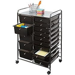 Seville Classics 15-Drawer Organizer Cart, Black