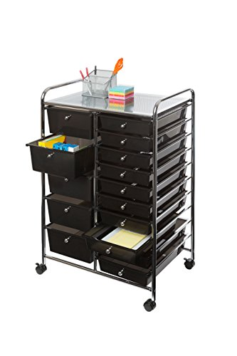 Seville Classics 15-Drawer Organizer Cart, (Small Chrome Drawer Pull)