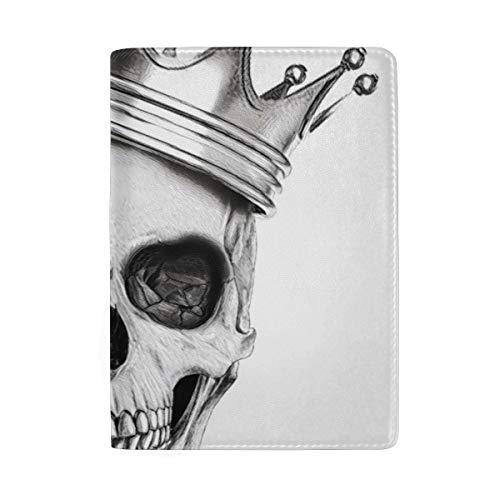 Passport Holder Watercolor Human Skull Design Waterproof Wear-resistant Passport Cover Case Journey Travel Wallet Card Holder For Men Women Kids Teens