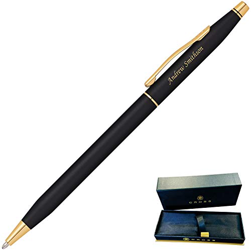 (Dayspring Pens | Engraved/Personalized Cross Classic Century Black Ballpoint Pen with Gold Trim 2502. Custom Engraved Fast!)