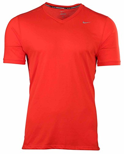 Nike Mens Tailwind V-Neck Athletic Running Training Shirt Red (Medium) by Nike