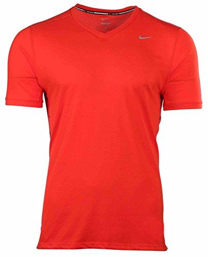 Nike Men's Dri-Fit Tailwind V-Neck Running Shirt-University Red-Small