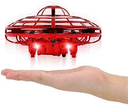 Mini Drone Platillo Volador Avión Volador Juguete, Helicóptero de Bola Voladora Interactiva Controlada a Mano, Quadcopter de Bolsillo, Rotación de 360 °, Luces LED Brillantes, para Niños Adultos: Amazon.es: Jardín