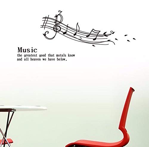 Dalxsh Sheet Music Music is The Greatest Good Quotes Wall Sticker Kids Room Bedroom Home Decor 3D Vinyl Removeable Wall Decal 23X57Cm