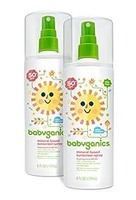 Babyganics Mineral-Based Baby Sunscreen Spray, SPF 50, 6oz Spray Bottle (Pack of 2)