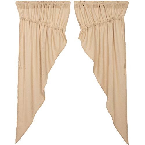 - VHC Brands Farmhouse Curtains Chocolate Rod Pocket Drawstring Ties Distressed Appearance Cotton Burlap Solid Color Prairie Panel Pair Vintage White Tan