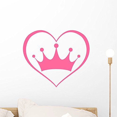 Pink Princess Crown Heart Wall Mural by Wallmonkeys Peel and Stick Graphic (18 in H x 18 in W) WM368270