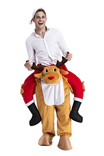 [Christmas Father Ride Me Adult Carry On Santa Claus Fancy Dress Piggy Back Costume by You Look Ugly Today] (Step Back In Time Costumes)