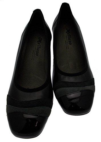 scarpa donna art x4136 Decoltè pelle nero vernice camoscio