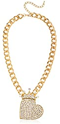 """Goldtone Iced Out """"Queen of Hearts"""" Pendant with Cuban Chain Necklace"""